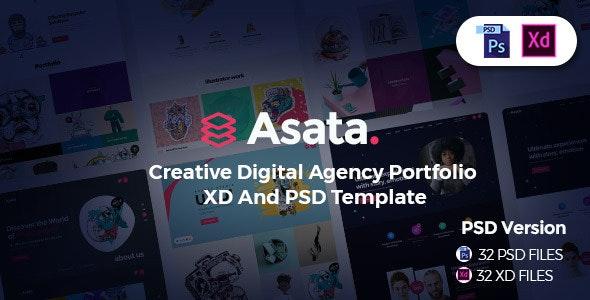 Asata - Creative Digital Agency Portfolio XD & PSD Template - Creative Photoshop