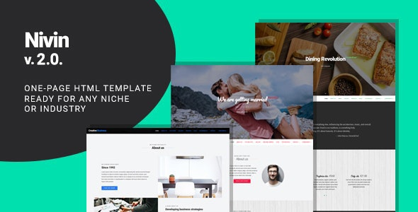 Nivin - Restaurant and Wedding Creative One-pager Template - Site Templates