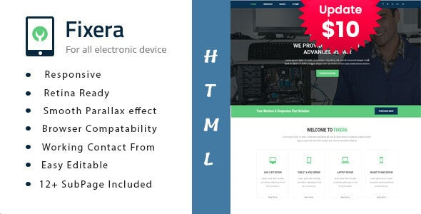 Fixera - Electronics and Phone Repair HTML Template - Business Corporate