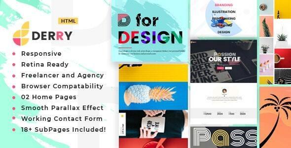 Derry - Colorful Minimal Portfolio HTML Template - Portfolio Creative
