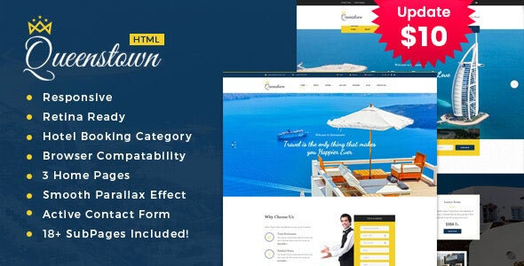 QueensTown - Resort and Hotel HTML Template - Travel Retail