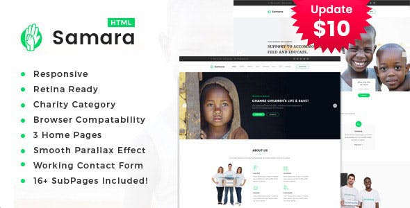 Samara - Responsive HTML Template for Charity & Fund Raising