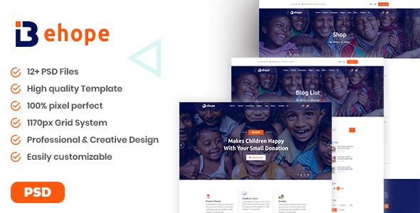 Behope - Charity, Nonprofit, NGO & Fundraising PSD Template - Nonprofit PSD Templates