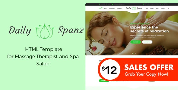 Daily Spanz - HTML Template for Massage Therapist and Spa Salon - Health & Beauty Retail