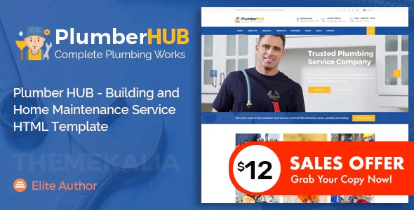 Plumber HUB - Building and Home Maintenance Service HTML Template - Business Corporate