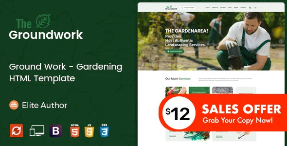 Ground Work - Gardening and Landscaping HTML Template - Business Corporate