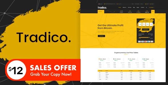 Tradico - Bitcoin Crypto Currency HTML Template - Business Corporate