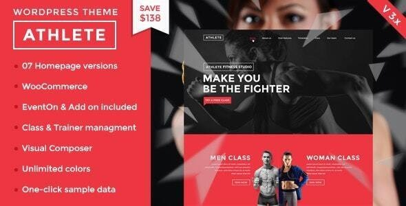 Athlete Fitness | Gym and Sport WordPress Theme - Health & Beauty Retail