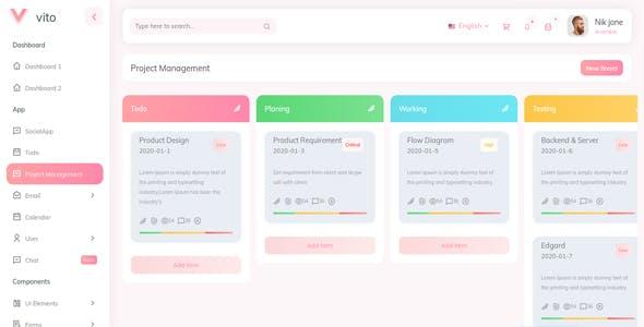 Vito - Angular 9 (NgRx State) Admin Dashboard Template