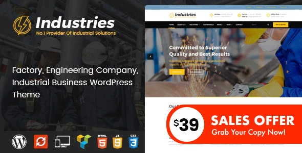 Industries - Factory and Industrial Business WordPress Theme - Business Corporate