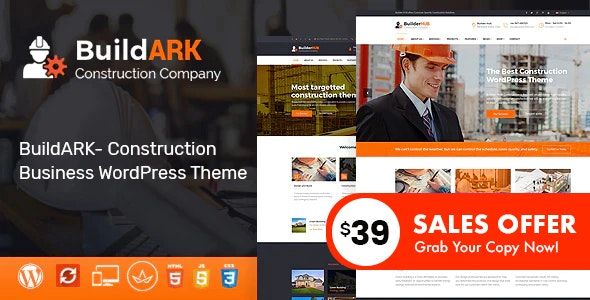 BuildARK- Construction Business WordPress Theme - Business Corporate
