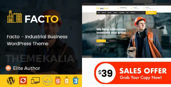 Facto - Industrial Business WordPress Theme - Business Corporate