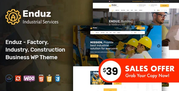 Enduz - Factory and Industry WordPress Theme - Business Corporate