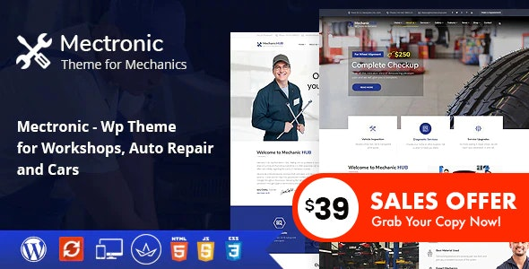 Mectronic - WordPress Theme for Car Repair Center - Business Corporate