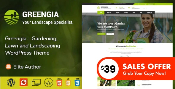 Greengia - Gardening, Lawn and Landscaping WordPress Theme - Business Corporate