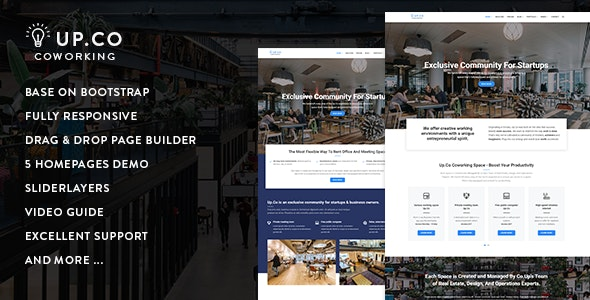 Up.Co - Creative Office Space & Business Drupal 8.8 Theme - Business Corporate