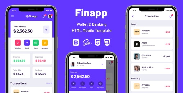 Finapp - Wallet & Banking HTML Mobile Template - Mobile Site Templates