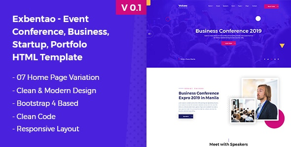 Exbentao- One Page Event & Business Template - Events Entertainment