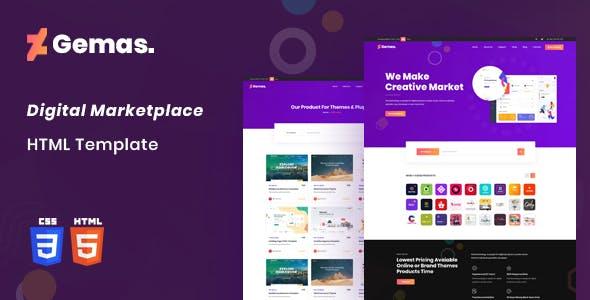 Gemas - Multi-Vendor Digital Marketplace HTML5 Template