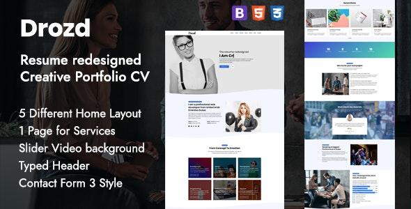 Personal Portfolio & Creative Resume Template - Drozd - Personal Site Templates