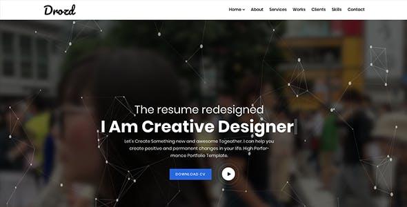 Personal Portfolio & Creative Resume Template - Drozd