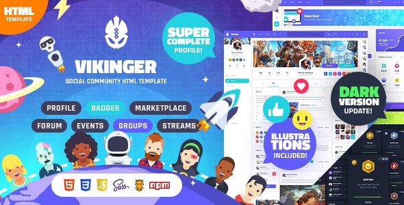 Vikinger - Social Community and Marketplace HTML Template - Creative Site Templates