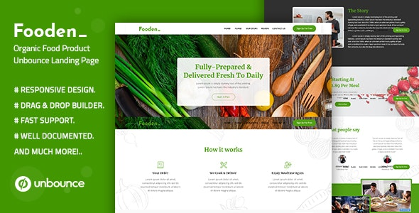 Fooden — Unbounce Food Product Landing Page Template - Unbounce Landing Pages Marketing