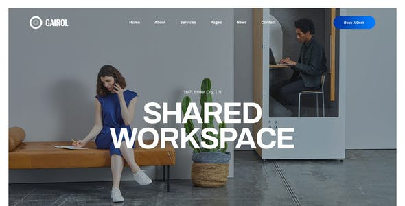 Gairol - Coworking and Creative Space PSD Template