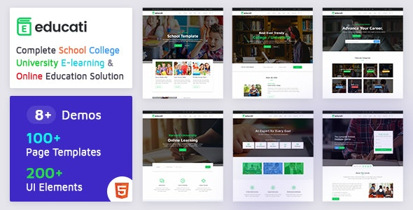 Educati- Education HTML5 Template for School, College, University and E-learning - Corporate Site Templates