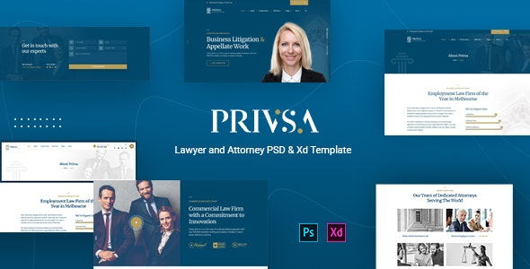 Privsa | Lawyer & Attorney PSD Template - Business Corporate