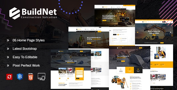 BuildNet : Multipurpose Construction Template - Business Corporate