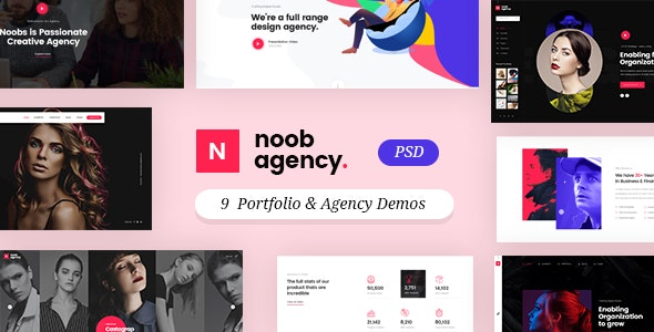 Noob - Agency and Portfolio PSD Template - Creative Photoshop