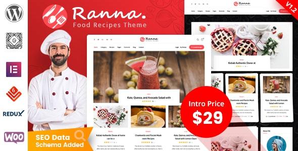 Ranna - Food & Recipe WordPress Theme - Personal Blog / Magazine