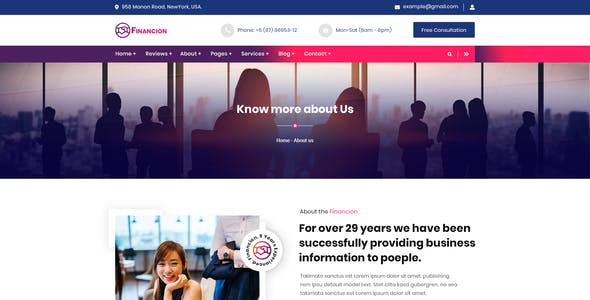 Financion | Financial & consulting Services PSD Template