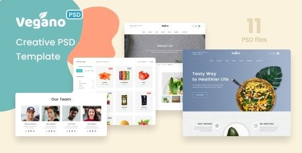 Vegano - Organic Food Store PSD Template - Food Retail