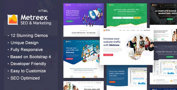 SEO & Digital Marketing Agency  Landing Page Template - Metreex