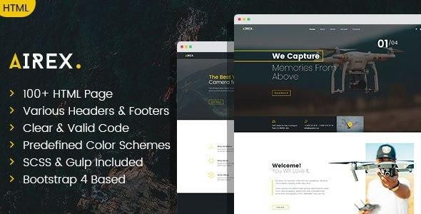 Airex - Drone and Copter Single and Multi page HTML template - Technology Site Templates