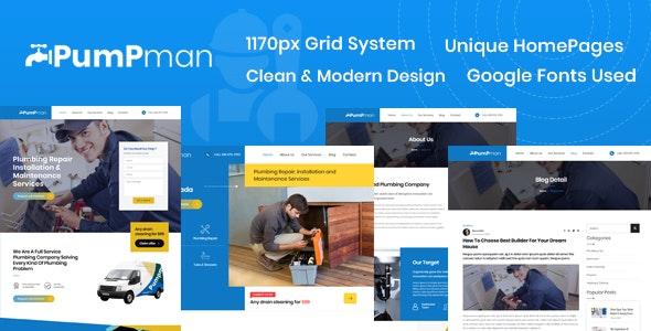 PumpMan – Plumber Website HTML Template - Site Templates