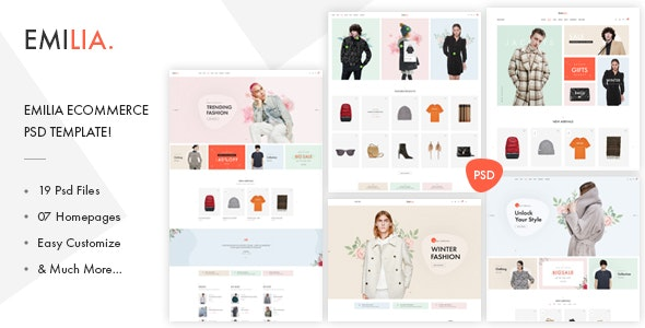 Emilia - eCommerce PSD Template! - Retail PSD Templates