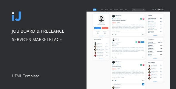 iJ – Job Board & Freelance Services Marketplace HTML Template - Business Corporate