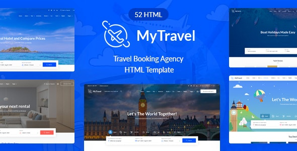 MyTravel - Hotels, Flights & Vacations HTML Template - Travel Retail