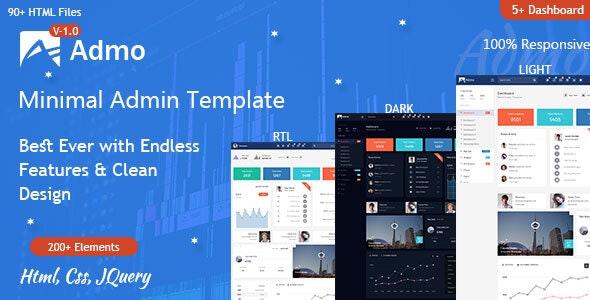 Admo Minimal Admin Dashboard Responsive Html Panel Template - Admin Templates Site Templates