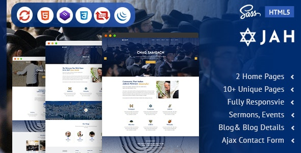 Jah | Jewish Synagogue  HTML5 Template - Nonprofit Site Templates