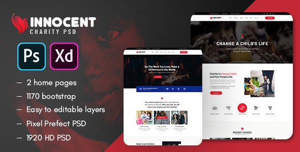 Innocent - Nonprofits Charity PSD & XD Template - Charity Nonprofit
