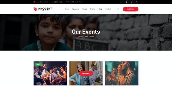 Innocent - Nonprofits Charity PSD & XD Template