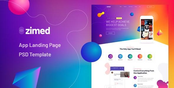 Zimed - App Landing Page PSD Template - Technology Photoshop