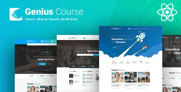 Genius Course - ReactJS School Classes Institute HTML Template - Business Corporate