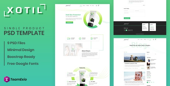 Xotil - Product Landing Page PSD Template - Marketing Corporate