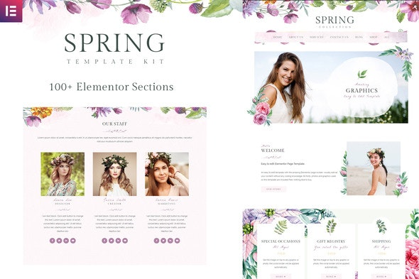 Spring Watercolor and Floral Template Kit - Miscellaneous Elementor