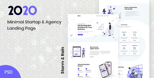 2020   Minimal Startup & Agency PSD Landing Page - Technology PSD Templates